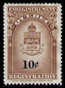 SALE QUEBEC REVENUE RARE 1962 10c #QR30 VF MNG NH REGISTRATION STAMP CV $7.50