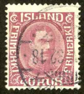 Iceland Sc# 184 Used 1931-1933 40a Christian X