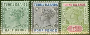 Turks & Caicos Is 1893-95 set of 3 SG70-72 Fine Lightly Mtd Mint