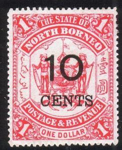NORTH BORNEO 1895 10 CENTS on $1 mint SG88.................................13087
