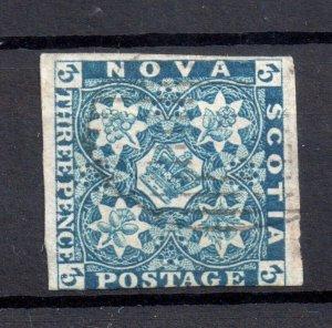 Nova Scotia 1851 3d Heraldic Flowers fine used #3 WS15494