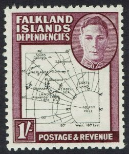 FALKLAND ISLANDS 1946 KGVI THIN MAP 1/- MNH **