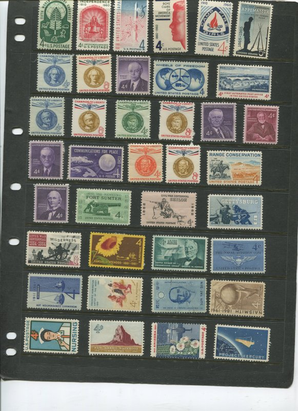STAMP STATION PERTH USA Early Selection of 38 Stamps Unchecked Mint -Lot 15