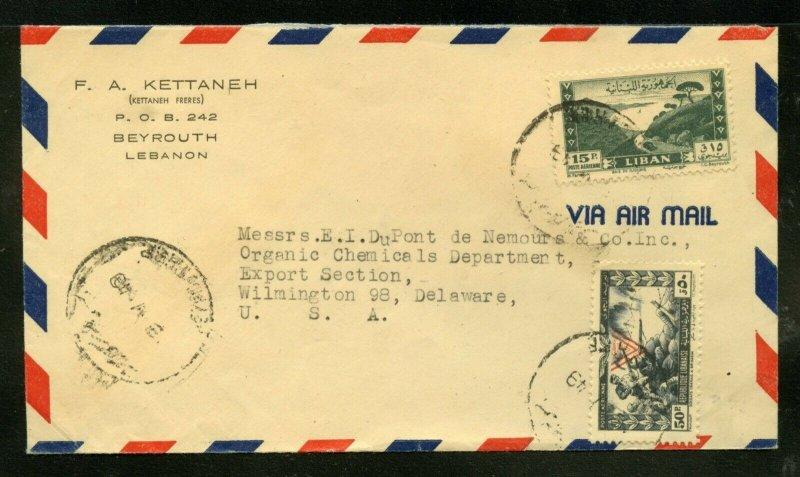 Lebanon Liban 1948 Cover to DUPONT USA  Postal Tax Palestine RA5 on back