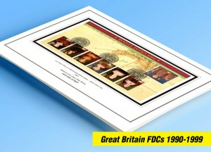 COLOR PRINTED GREAT BRITAIN FDCs 1990-1999 STAMP ALBUM PAGES (150 illust. pages)