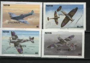 1986 Nevis 50th Anniv Spitfire Fighter Specimens 460-63 MNH