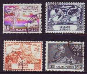 Malaya Penang Sc 23-6 1949 UPU stamps used