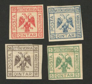 ALBANIA - 4 MH IMPERFORATED STAMPS - VETEKEVERRIA - 1920.