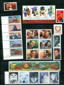 US 1999 Commemorative Year Set 101 stamps including 3 Sheets, Mint NH, see scans