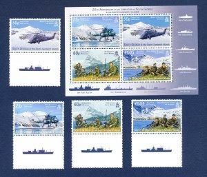 SOUTH GEORGIA - # 350-353 - MNH set & S/S  - Falklands Islands War - 2007