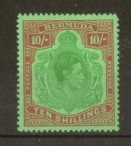 Bermuda 1951-53 GVI 10/- Keyplate SG119d/e Perf 13 MNH Cat£48