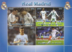 Benin 2014 Real Madrid Football, Soccer 4v Mint Souvenir Sheet S/S. (#08)