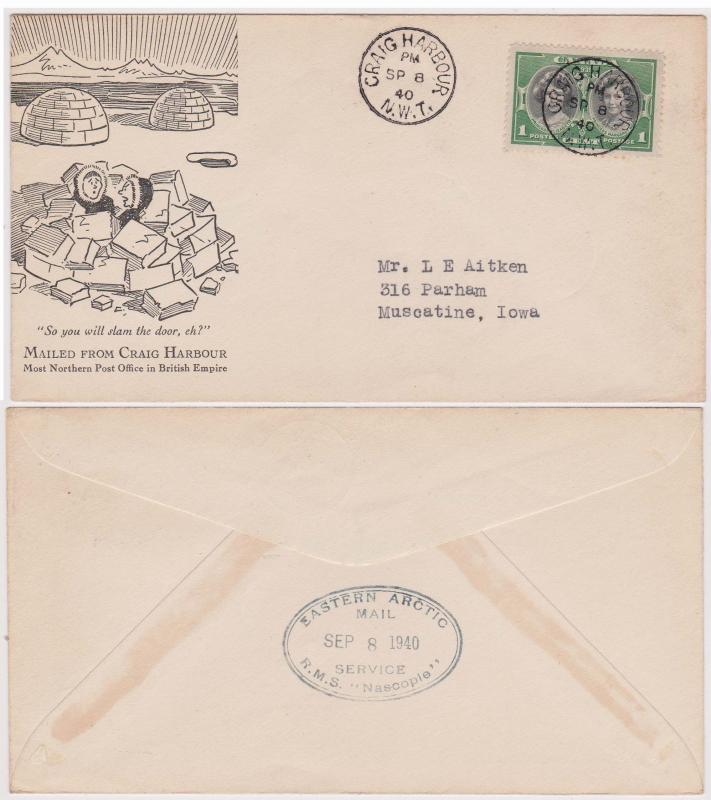 Canada Craig Harbour, 1940 Most Northerly Post Office Illustrated Cover
