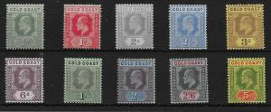 GOLD COAST SG59/68 1907-13 DEFINITIVE SET MTD MINT