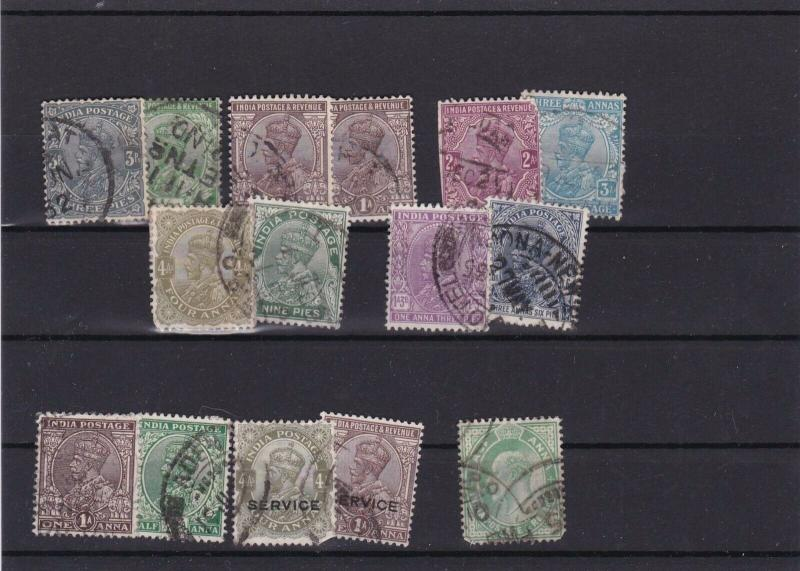 INDIA   USED  STAMPS ON STOCK CARD  REF R 1691