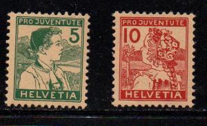Switzerland Sc B2-3 1915 Pro Juvente stamp set mint