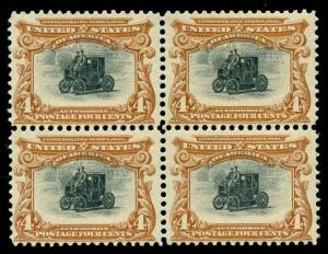 momen: US Stamps #296 Mint OG NH Block of 4 F/VF Weiss Cert