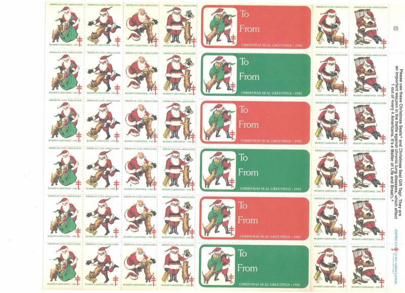 Christmas Seals American Lung Assoc Santa Claus 1982 Cinderella Stamps  42 MNH