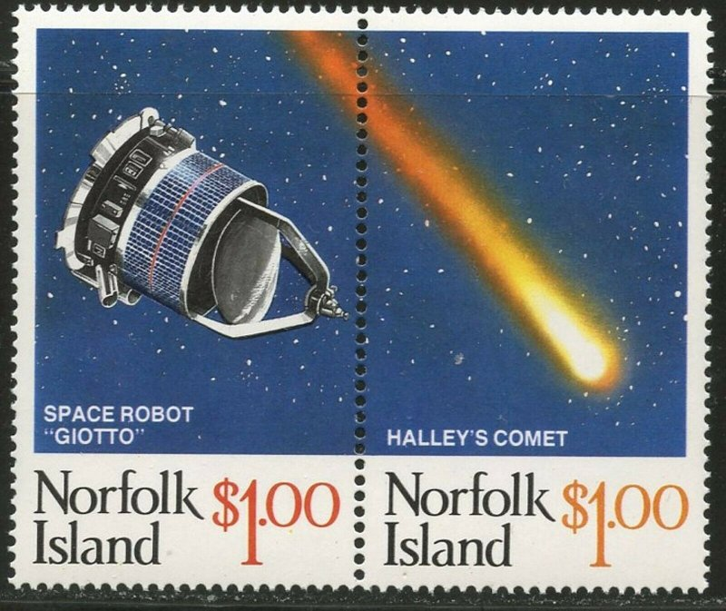 NORFOLK IS. Sc#381 1986 Halley's Comet Pair Complete Mint OG NH