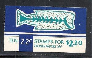 Palau #76a booklet comp mnh cv $10.50 Fish Marine Life