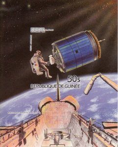 Guinea 1985 Mi#Bl.135B Space Astronaut and Satellite Palapa B2 S/S IMPERF.MNH