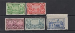 United States 1936-7 Army Issue Set Scott 785-9 5 Stamps MNH