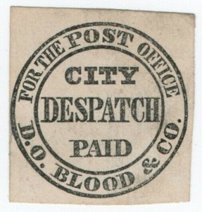 (I.B) US Local Post : Blood's City Despatch Paid (Type I)
