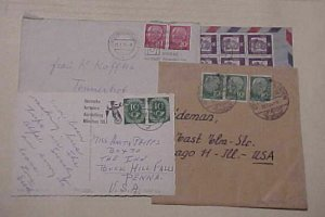 GERMAN SMALL COVERS/CARD  HORIZONTAL DOUBLE #128,183,185,349 cat.$110.00