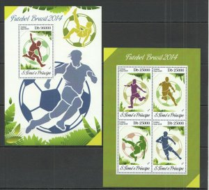 ST1639 2014 S.TOME & PRINCIPE SPORT FOOTBALL WORLD CUP BRAZIL KB+BL MNH STAMPS