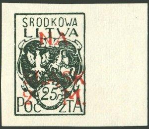 CENTRAL LITHUANIA / MITTELLITAUEN - 1921 Mi.26B 2M/25f Mint** - ref.881l