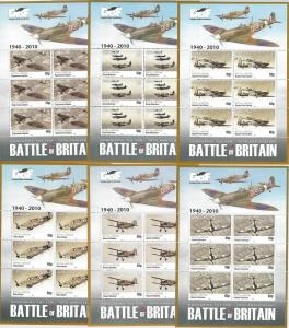 64447 -  GIBRALTAR - STAMPS - 2010 BATTLE of BRITAIN: Airplanes MINIATURE SHEETS