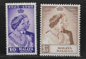 MALAYA -MALACCA, 1-2, MNH, CORONATION ISSUE