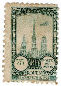 (I.B) France Cinderella : Poste Par Avion 75c (Rouen 1922)