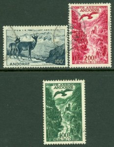 EDW1949SELL : FRENCH ANDORRA Scott #C1, 2-3 Very Fine, Used. Catalog $86.00.