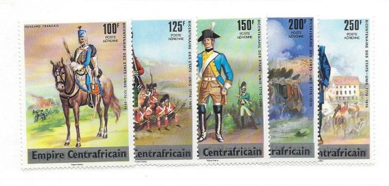 Central Africa (Empire),, C139-43, American BiCentennial 1976 Singles,  MNH