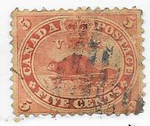 Canada #15  5c Vermillion  Beaver  (U) CV $37.50