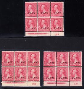 GUAM #2 (3) DIFFERENT PLATE #s WITH IMPRINT UNUSED F-VF CV $900 BT5791