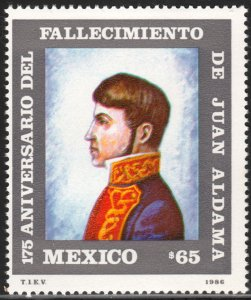 MEXICO 1446, 175th Death Anniv Heroes of Independence. SINGLE MINT, NH. VF.