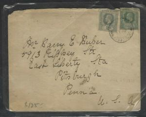 CAYMAN ISLANDS  (P1104B)  1918 KE 1/2D+ KGV 2D VIA JAMAICA TO USA