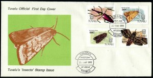 Tuvalu 566-569,FDC.Michel 587-590. Insects 1991.Beetle,Moths.