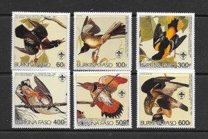 BIRDS - BURKINA FASO #717-22  AUDUBON   MNH
