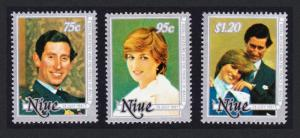 Niue Charles and Diana Wedding 3v SG#430-432 SC#340-342