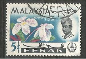PERAK, 1965, used 5c, Orchid, Scott 141