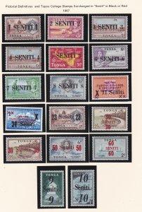 Tonga # 158-174, Surcharges in Seniti LH, 1/3 Cat.