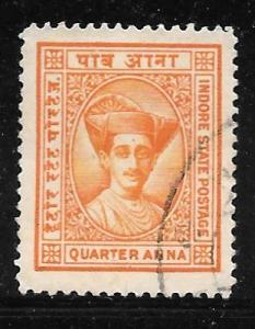 India Indore 15: 1/4a Maharaja Yeshwant Rao II, used, VF