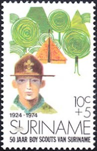 Surinam # B208 mnh ~ 10¢ + 5¢ Boy Scout, Tent and Trees
