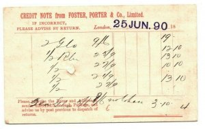 GB ADVERT Postal Stationery QV Card 1890 *Foster Porter* CLOTHES {samwells}GJ73