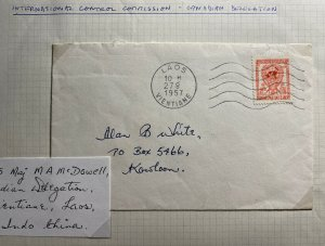 1957 Vientiane Laos Canadian Delectation Control Commission Cover To Hong Kong