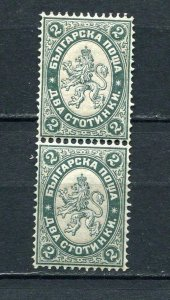 Bulgaria 1885 Sc 24 MNH Lion type Vertical Pair  6400