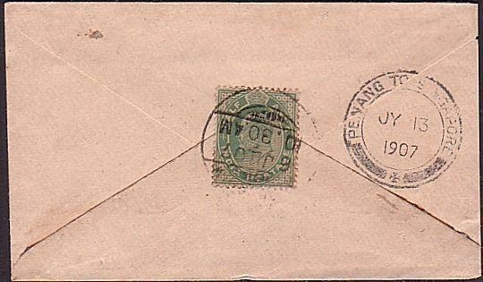 MALAYA 1907 PENANG TO SINGAPORE marine sorter on cover ................34812